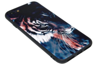 ADEL Siliconen Back Cover Softcase Hoesje iPhone SE (2020)/ 8/ 7 - Tijger