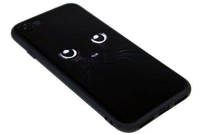 ADEL Siliconen Back Cover Softcase Hoesje iPhone SE (2020)/ 8/ 7 - Zwarte Kat