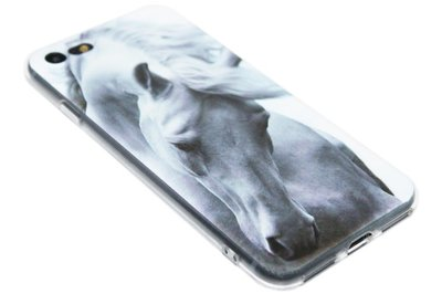 ADEL Siliconen Back Cover Softcase Hoesje iPhone SE (2020)/ 8/ 7 - Paard