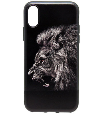 ADEL Siliconen Back Cover Hoesje voor iPhone XS/X - Donkere Leeuw