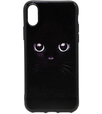 ADEL Siliconen Back Cover Hoesje voor iPhone XS/X - Zwarte Kat
