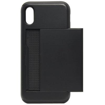 ADEL Kunststof Back Cover Hoesje voor iPhone XS/X - Pasjeshouder Zwart
