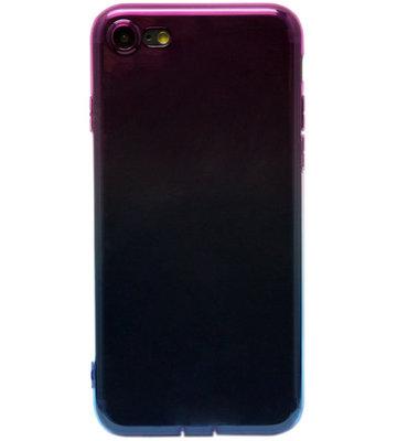 ADEL Siliconen Back Cover Hoesje voor iPhone SE (2020)/ 8/ 7 - Kleurenovergang Roze en Blauw
