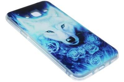 Blauw wolven siliconen hoesje Samsung Galaxy J3 (2015) / J3 (2016)