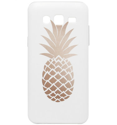 ADEL Siliconen Back Cover Softcase Hoesje voor Samsung Galaxy J7 (2015) - Ananas Goud