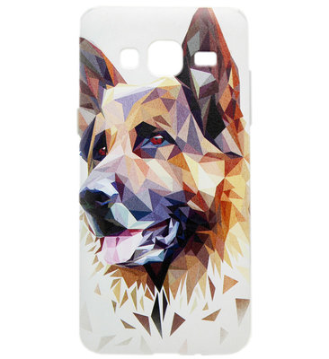 ADEL Siliconen Back Cover Softcase Hoesje voor Samsung Galaxy J7 (2015) - Duitse Herder