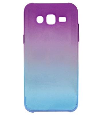 ADEL Siliconen Back Cover Softcase Hoesje voor Samsung Galaxy J7 (2015) - Kleurovergang Paars en Blauw