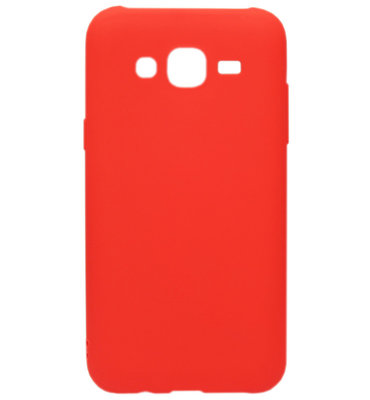 ADEL Siliconen Back Cover Softcase Hoesje voor Samsung Galaxy J7 (2015) - Rood