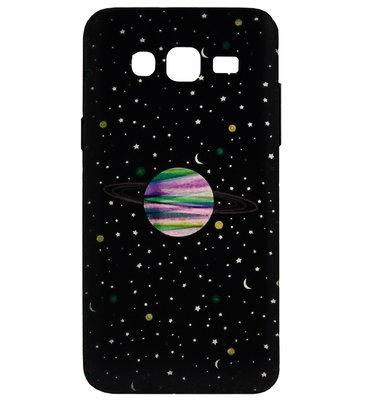 ADEL Siliconen Back Cover Softcase Hoesje voor Samsung Galaxy J7 (2015) - Heelal Universum Zwart