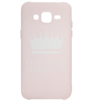 ADEL Siliconen Back Cover Softcase Hoesje voor Samsung Galaxy J7 (2015) - King Roze