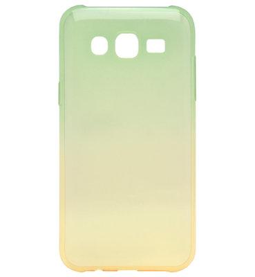 ADEL Siliconen Back Cover Softcase Hoesje voor Samsung Galaxy J7 (2015) - Kleurovergang Groen en Geel