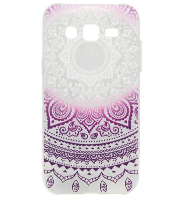 ADEL Siliconen Back Cover Softcase Hoesje voor Samsung Galaxy J7 (2015) - Mandala Bloemen Paarswit