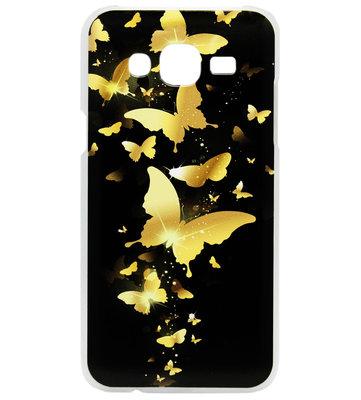 ADEL Kunststof Back Cover Hardcase Hoesje voor Samsung Galaxy J7 (2015) - Vlinder Goud