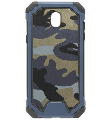 ADEL Kunststof Bumper Hardcase Hoesje voor Samsung Galaxy J7 (2017) - Camouflage Blauw