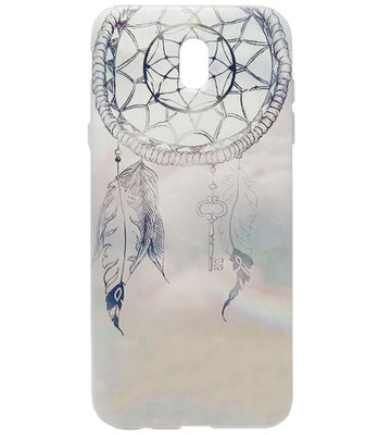 ADEL Siliconen Back Cover Softcase Hoesje voor Samsung Galaxy J7 (2017) - Dromenvanger Lichtblauw