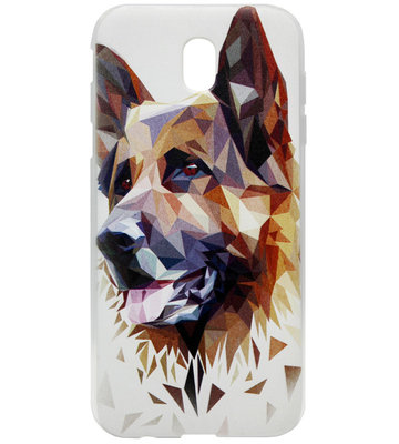 ADEL Siliconen Back Cover Softcase Hoesje voor Samsung Galaxy J7 (2017) - Duitse Herder