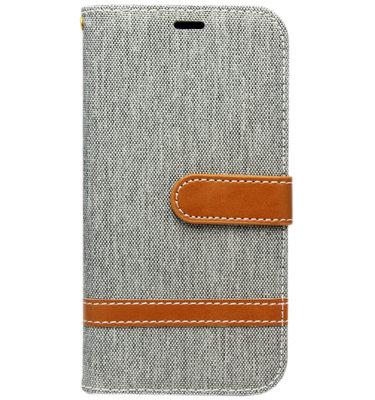 ADEL Kunstleren Book Case Hoesje voor Samsung Galaxy J7 (2017) - Stoffen Design Grijs