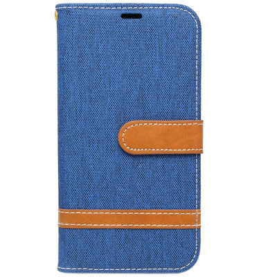 ADEL Kunstleren Book Case Hoesje voor Samsung Galaxy J7 (2017) - Stoffen Design Blauw