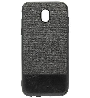ADEL Kunststof Back Cover Hardcase Hoesje voor Samsung Galaxy J7 (2017) - Stoffen Design Grijs