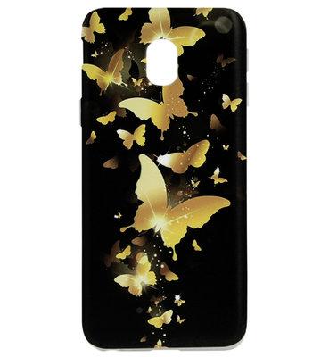 ADEL Siliconen Back Cover Softcase Hoesje voor Samsung Galaxy J7 (2017) - Vlinder Goud