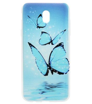 ADEL Siliconen Back Cover Softcase Hoesje voor Samsung Galaxy J7 (2017) - Vlinder Blauw