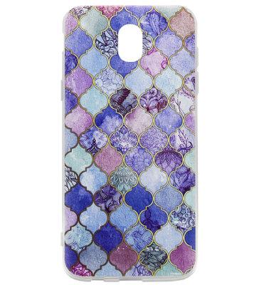 ADEL Siliconen Back Cover Softcase Hoesje voor Samsung Galaxy J7 (2017) - Scrub Marmer Blauw