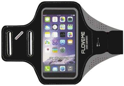 FLOVEME Sportarmband 5.5 Inch Microfiber Hoesje voor Samsung Galaxy S5 (Plus)/ S5 Neo/ S6 (Edge)/ S7 (Edge)/ S8 (Plus)/ S9 (Plus)/ S10 (Plus)/ S10 Lite - Zwart