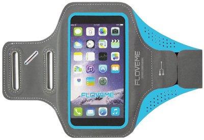 FLOVEME Sportarmband 5.5 Inch Microfiber Hoesje voor Samsung Galaxy S5 (Plus)/ S5 Neo/ S6 (Edge)/ S7 (Edge)/ S8 (Plus)/ S9 (Plus)/ S10 (Plus)/ S10 Lite - Blauw