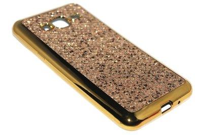 Bling bling hoesje goud Samsung Galaxy J3 (2015) / J3 (2016)
