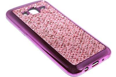 Bling bling hoesje roze Samsung Galaxy J7 (2015)