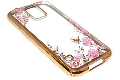 Glimmend bloemen hoesje goud Samsung Galaxy S5 (Plus) / Neo
