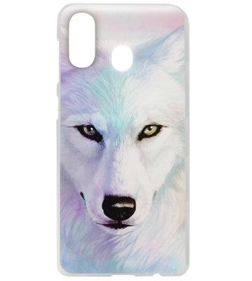 ADEL Kunststof Back Cover Hardcase Hoesje voor Samsung Galaxy A40 - Wolf Lichtblauw