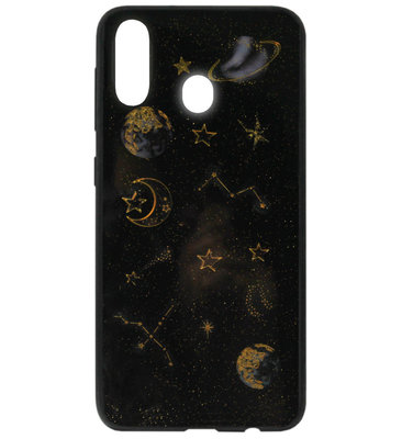 ADEL Siliconen Back Cover Softcase Hoesje voor Samsung Galaxy A40 - Heelal Ruimte Bling Bling