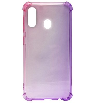 ADEL Siliconen Back Cover Softcase Hoesje voor Samsung Galaxy A40 - Kleurovergang Roze en Paars