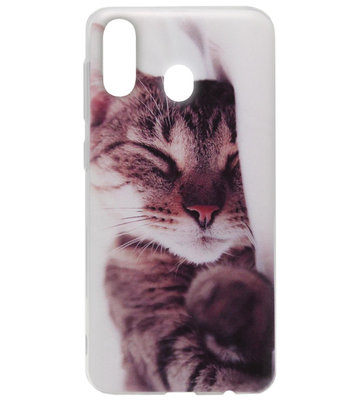 ADEL Siliconen Back Cover Softcase Hoesje voor Samsung Galaxy A40 - Katten Schattig