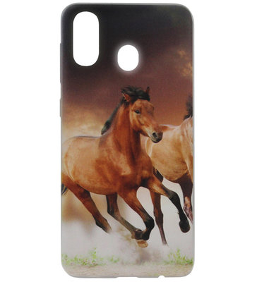 ADEL Siliconen Back Cover Softcase Hoesje voor Samsung Galaxy A40 - Paarden Bruin