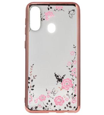 ADEL Siliconen Back Cover Softcase Hoesje voor Samsung Galaxy A40 - Bling Bling Roze Vlinders en Bloemen