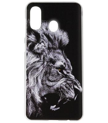 ADEL Kunststof Back Cover Hardcase Hoesje voor Samsung Galaxy A40 - Leeuw Zwart