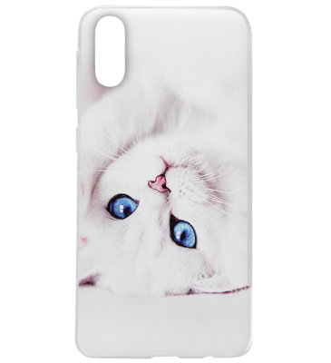 ADEL Siliconen Back Cover Softcase Hoesje voor Samsung Galaxy A50(s)/ A30s - Katten Wit