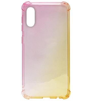 ADEL Siliconen Back Cover Softcase Hoesje voor Samsung Galaxy A50(s)/ A30s - Kleurovergang Roze en Geel