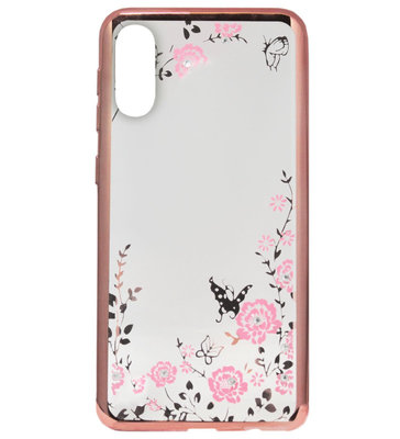 ADEL Siliconen Back Cover Softcase Hoesje voor Samsung Galaxy A50(s)/ A30s - Bling Bling Roze Vlinders en Bloemen