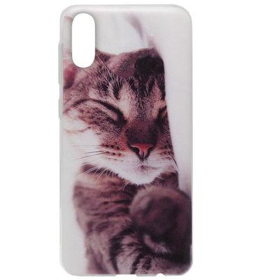 ADEL Siliconen Back Cover Softcase Hoesje voor Samsung Galaxy A70(s) - Katten Schattig