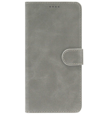 ADEL Kunstleren Book Case Portemonnee Pasjes Hoesje voor Samsung Galaxy A70(s) - Grijs