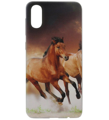 ADEL Siliconen Back Cover Softcase Hoesje voor Samsung Galaxy A70(s) - Paarden Bruin