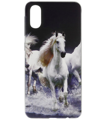 ADEL Siliconen Back Cover Softcase Hoesje voor Samsung Galaxy A70(s) - Paarden Wit