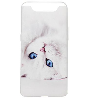ADEL Siliconen Back Cover Softcase Hoesje voor Samsung Galaxy A80/ A90 - Katten Wit