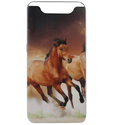 ADEL Siliconen Back Cover Softcase Hoesje voor Samsung Galaxy A80/ A90 - Paarden Bruin