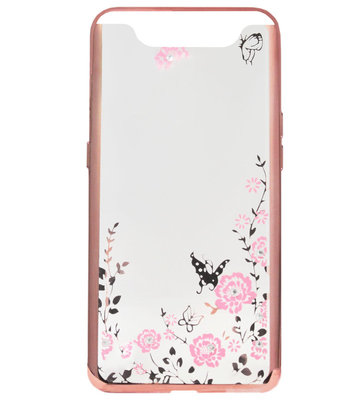 ADEL Siliconen Back Cover Softcase Hoesje voor Samsung Galaxy A80/ A90 - Bling Bling Roze Vlinders en Bloemen
