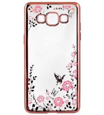 ADEL Siliconen Back Cover Softcase Hoesje voor Samsung Galaxy A5 (2015) - Bling Bling Vlinders en Bloemen Roze
