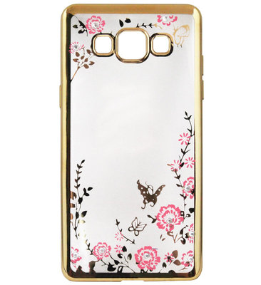 ADEL Siliconen Back Cover Softcase Hoesje voor Samsung Galaxy A5 (2015) - Bling Bling Vlinders en Bloemen Goud